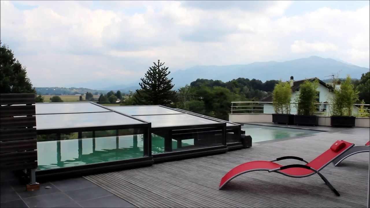 Ouverture et fermeture motoris e d 39 un abri piscine bas for Ouverture piscine