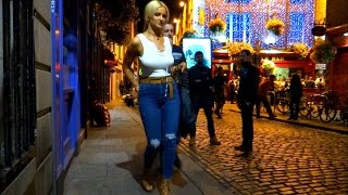 Dublin on a Saturday night. Temple Bar, nightlife, night out, pubs, bars, drinking, laugh, streets.
