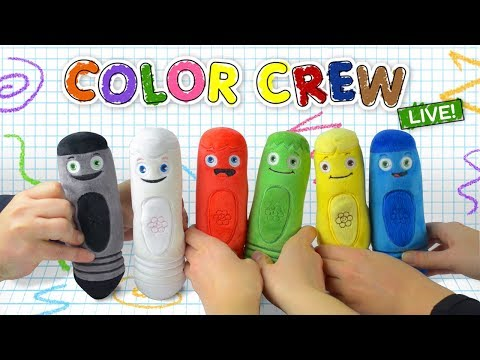 Learn Colors with Giant Crayons | Coloring with Soft Toys for Kids | Color Crew Live | BabyFirst TV