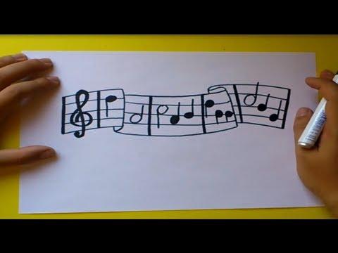 Como dibujar un pentagrama paso a paso | How to draw a staff