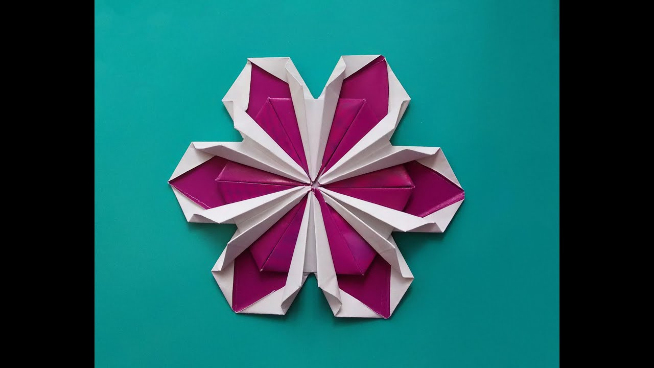 Origami flower ! Not very easy but rich! House decor ... - photo#24