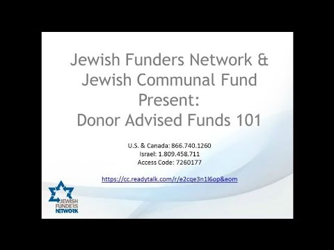Donor Advised Funds 101 with JCF's Ellen Israelson