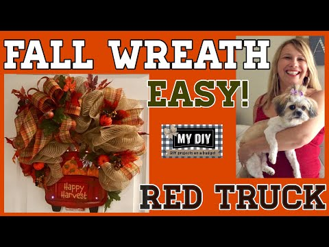 Fall Wreath Deco Mesh | Red Truck Wreath Dollar Tree DIY | SO EASY!
