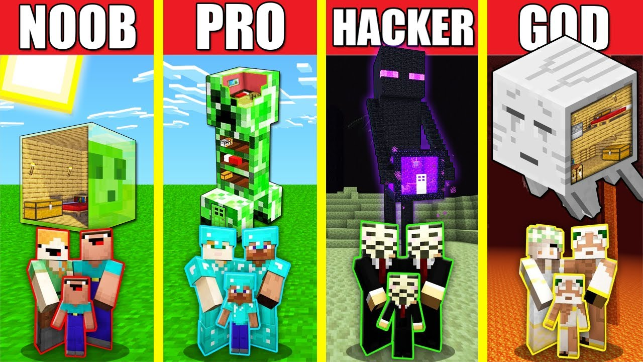 Minecraft Battle: MONSTER STATUE HOUSE BUILD CHALLENGE - NOOB vs PRO vs HACKER vs GOD Animation MOB