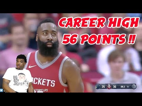 JAMES HARDEN UNREAL CAREER HIGH 56 POINTS !!! UNGUARDABLE ! ROCKETS VS JAZZ HIGHLIGHTS (REACTION)