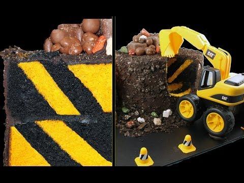 DIGGER CAKE! Diagonal Stripe Surprise Inside Construction Cake Tutorial by Cupcake Addiction