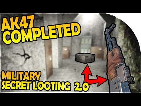 AK47 COMPLETED!! - MILITARY BASE SECRET LOOTING 2.0! - 7 Days to Die Alpha 16 Gameplay Part 43