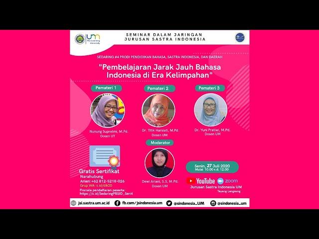 Sedaring #4 Prodi Pendidikan Bahasa, Sastra Indonesia, dan Daerah tema