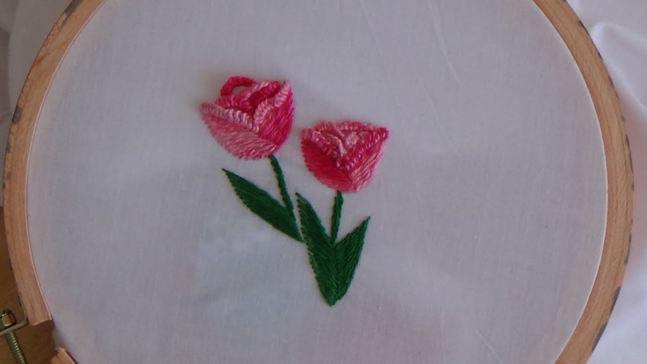 Hand Embroidery Tulip Stitch Youtube