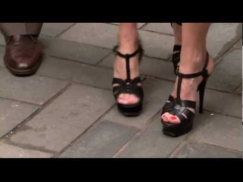 Amy Robach & Natalie Morales - sexy stiletto high heels & legs close up - HOT