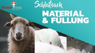 Was gibt es für Materialien & Füllungen im Schlafsack? - Schulungsvideo von Grüezi bag