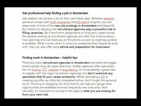 Get professional help finding a job in Amsterdam recruiting agency europe