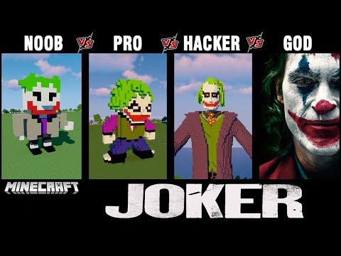 Minecraft Battle: NOOB vs PRO vs HACKER vs GOD: BUILD JOKER CHALLENGE in Minecraft. 13+