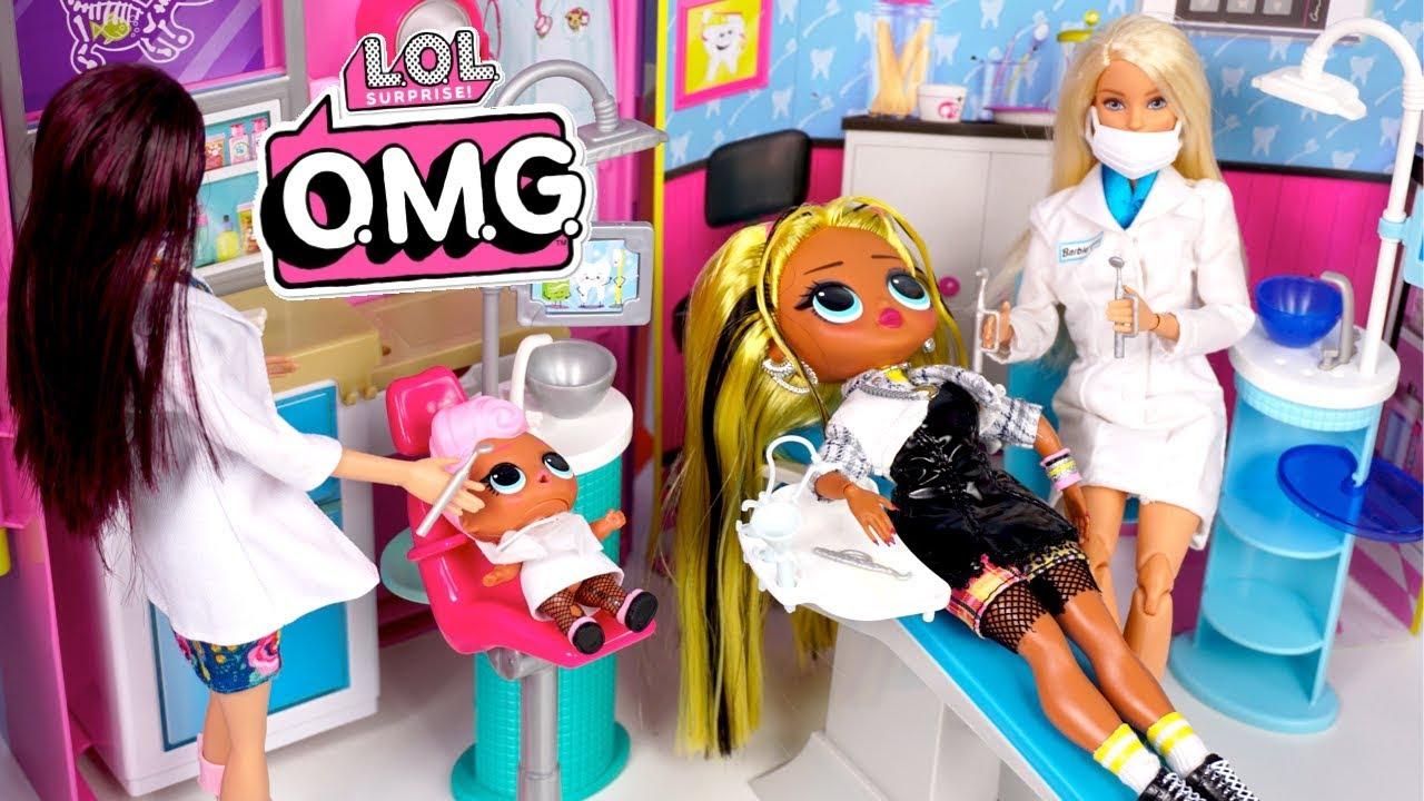 LOL Doll Family Visits The Barbie Dentist – LOL OMG Alt Grl Custom Family