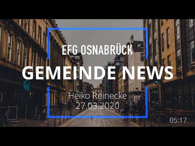 Gemeinde NEWS mit Heiko Reinecke // 27.03.2020 #1