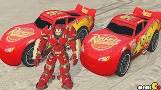 Iron Man Hulkbuster Vs Lighting Mcqueen Super Ramp Best Stunts GTA 5 Mods Showcase!
