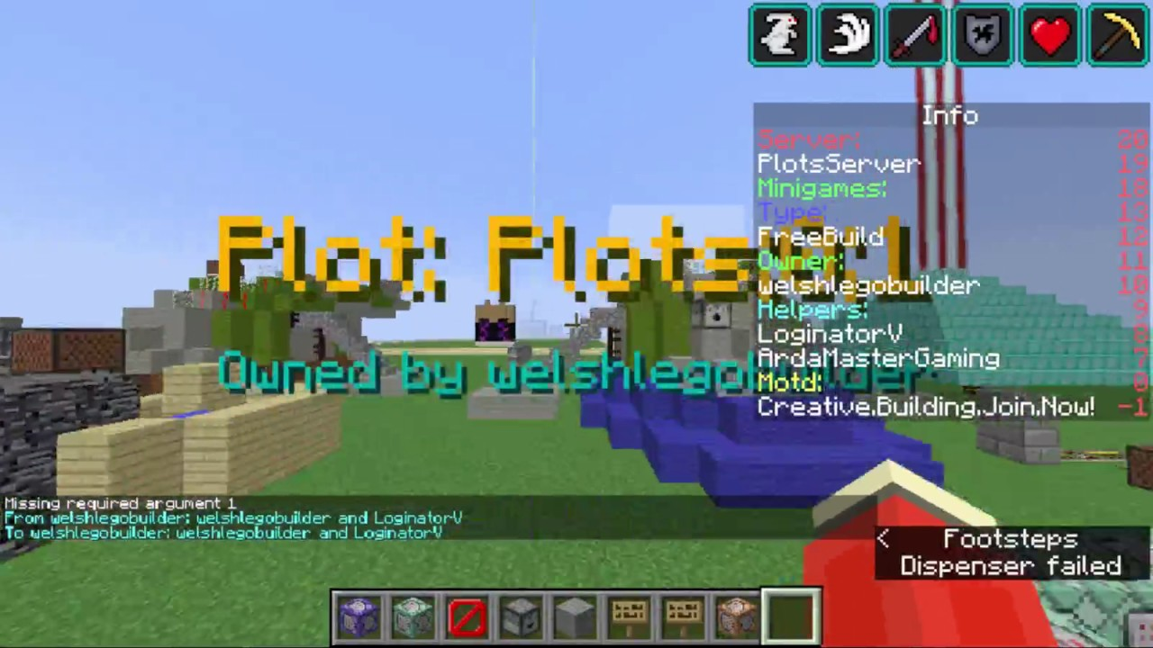 Minecraft Minehut PlotsServer Custom Commands Part 1