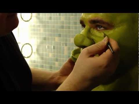 Lukas Poost becomes SHREK backstage at the Fisher Theatre in Detroit
