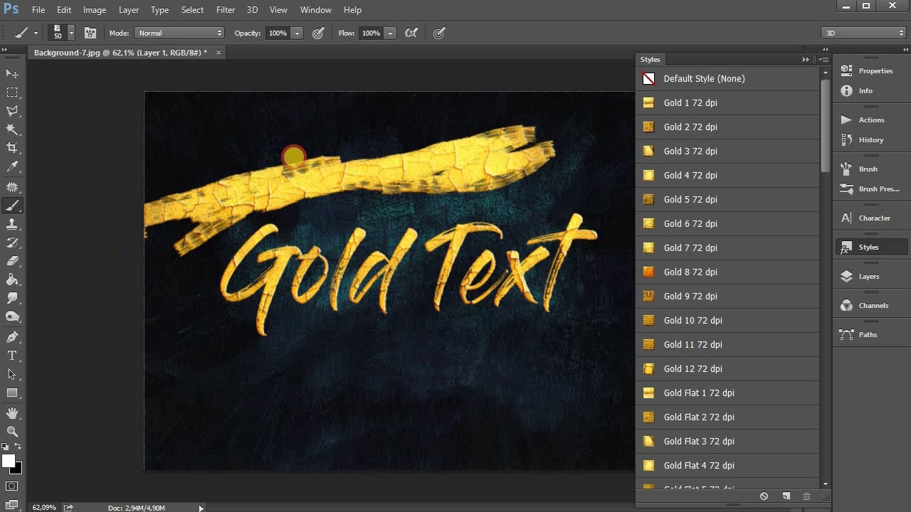 Metallic Paint Effect Photoshop