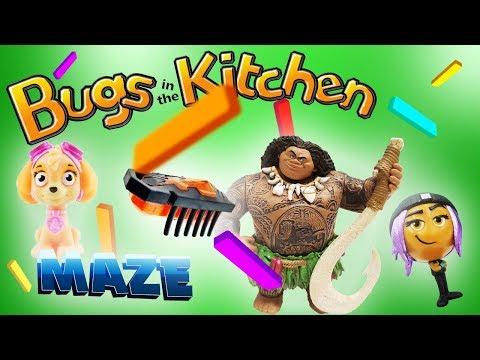 Bugs In the Kitchen Game Maze! Maui, Skye, Jailbreak, Golden Grape & Pinkie Pie! Paw Patrol & Emojis