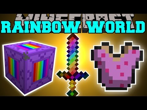Minecraft: RAINBOW WORLD MOD (RAINBOW ARMOR, WEAPONS, BLOCKS, & MORE!) Mod Showcase