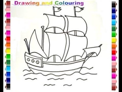 How To Draw And Colouring Sailing Ship Gambar Kapal Layar Youtube