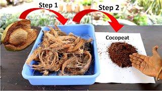 Make Cocopeat at home from Coconut  बहतरन ककपट बनय घर प, नरयल क छलक स