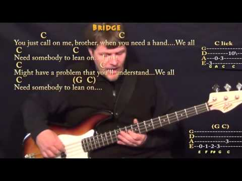 Lean On Me (Bill Withers) Bass Guitar Cover Lesson with Chords/Lyrics