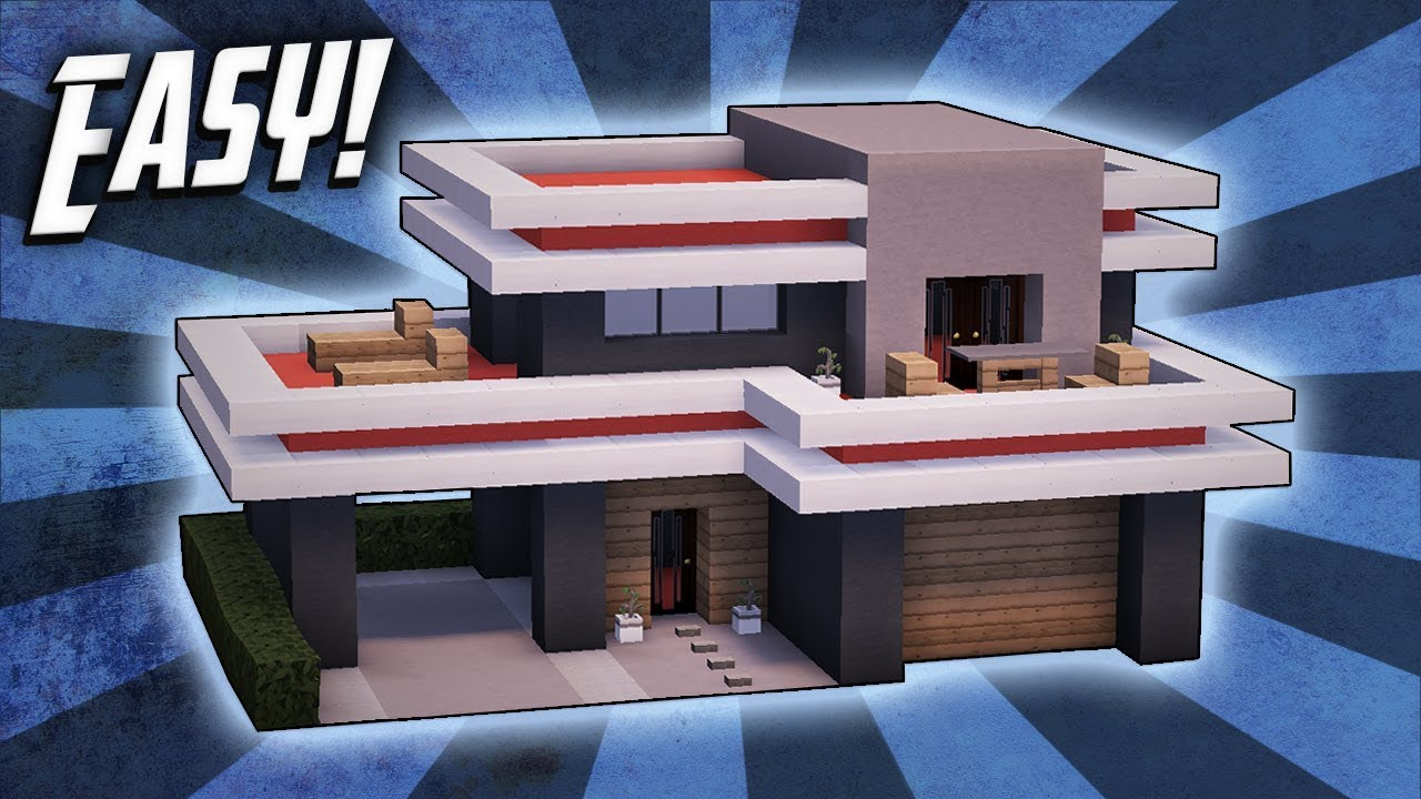 Minecraft how to build a small modern house tutorial 24 for How to build a modern home