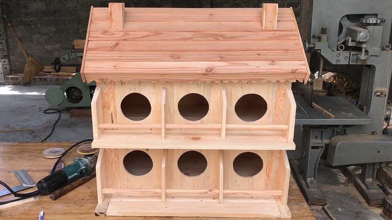 Woodworking Project From Old Pallets // Build A Wooden Bird House For Your Pigeons - How To, DIY!