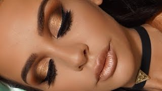 GOLDEN METALLIC MAKEUP TUTORIAL | Carli Bybel