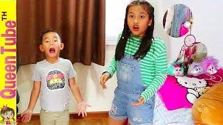 น้องควีน แอบพาใครเข้าบ้าน?!! 🐱👤👀 ละครสั้น   Funny Skit for kids children   QueenTubeTH ✔︎