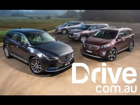Mazda CX 9 vs Toyota Kluger v Hyundai Santa Fe v Kia Sorento Drive.com.au