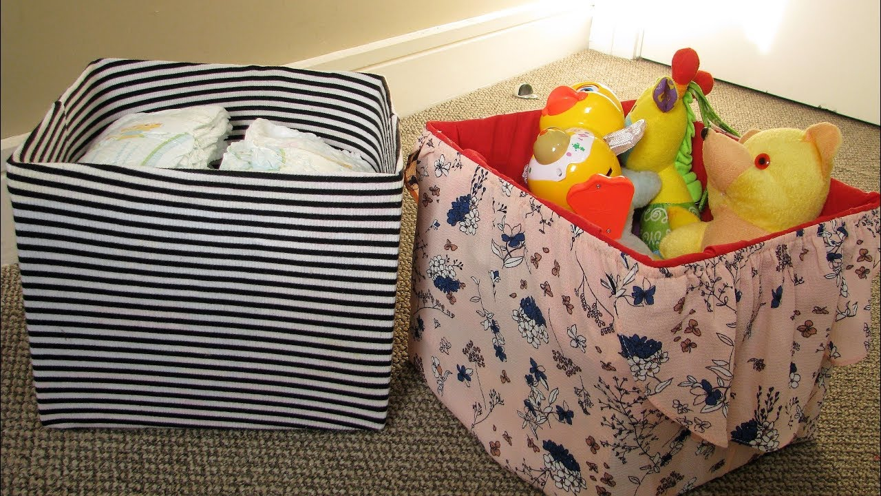 Diy No Sew Diaper Box Into Storage Box Using Dress And Offshoulder