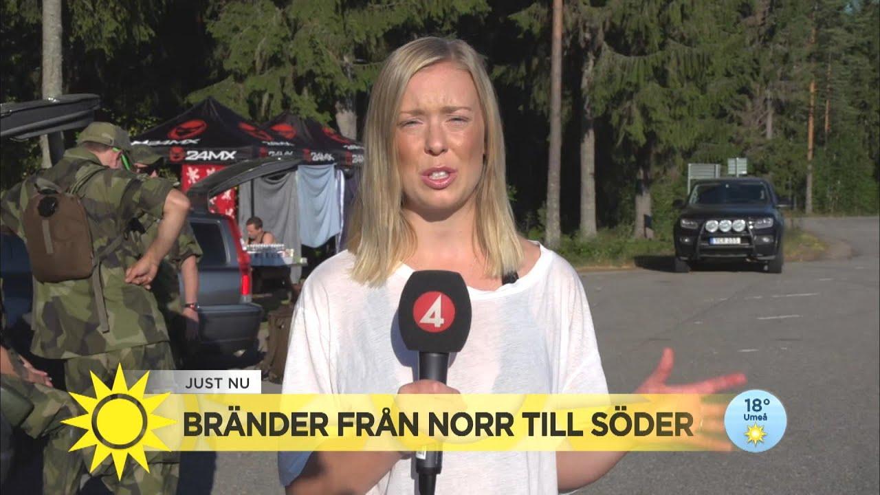 """Kraftiga bränder i Ljusdal pågår fortfarande: """"Varit slitsamt och tufft"""" - Nyhetsmorgon (TV4)"""