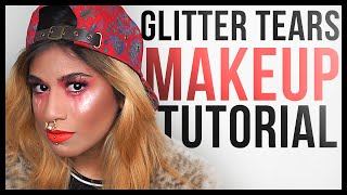 glitter tears makeup tutorial