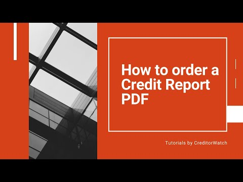 How to order a Credit Report pdf.