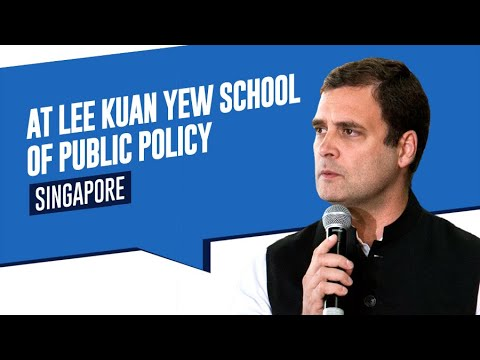 Congress President Rahul Gandhi addresses a gathering at the Lee Kuan Yew School of Public Policy