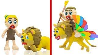 SUPERHERO BABY ANIMAL RESCUE LION FLYING 💖 Play Doh Cartoons Animation