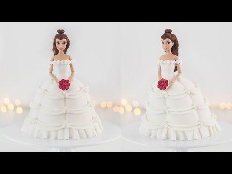 disney-princess:-belle-doll-cake---wedding-dress---tan-dulce