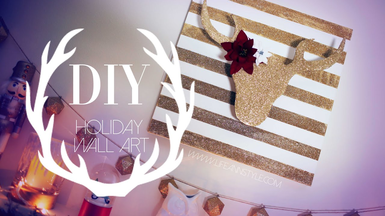 diy christmas reindeer wall art decor ann le youtube