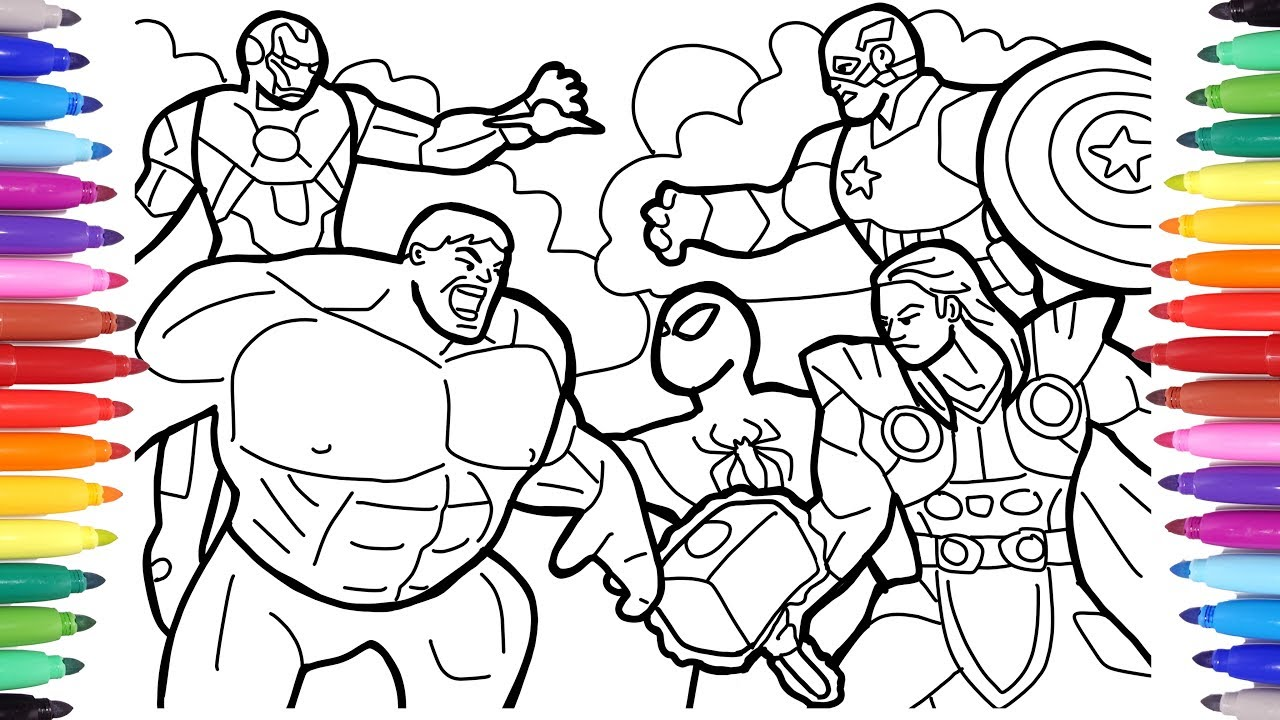 Avengers Coloring Pages Coloring The Avengers Squad Spiderman Iron Man Hulk Captain America Youtube