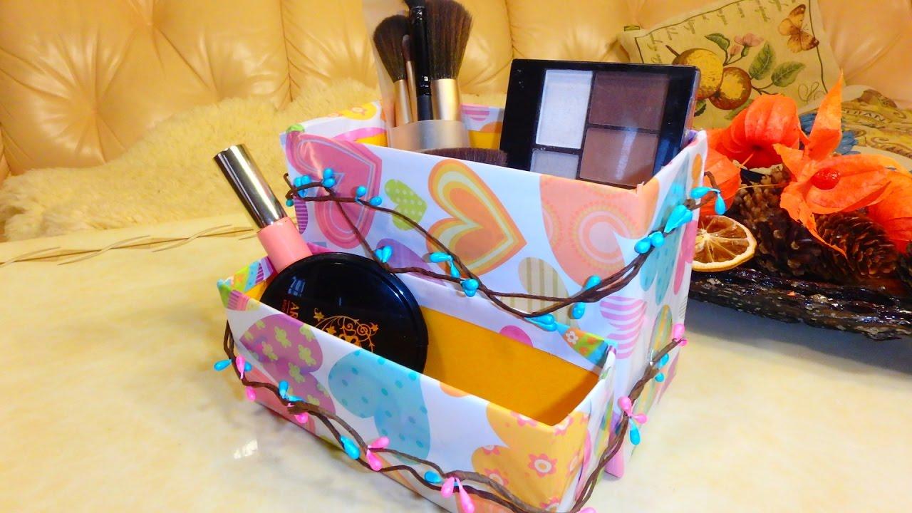 Поделки из коробки своими руками - Органайзер для косметики - YouTube
