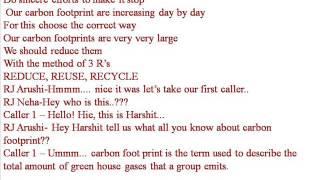 MAPS CARBON FOOTPRINT RADIO SHOW SCRIPT CLASS 9 B