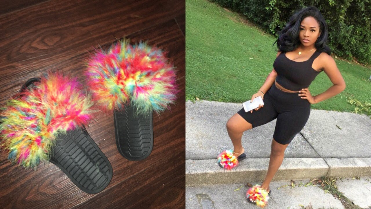 diy rainbow fur slides under 10 youtube