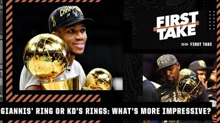Giannis' ring or Kevin Durant's 2 rings: Which would you rather have? First Take