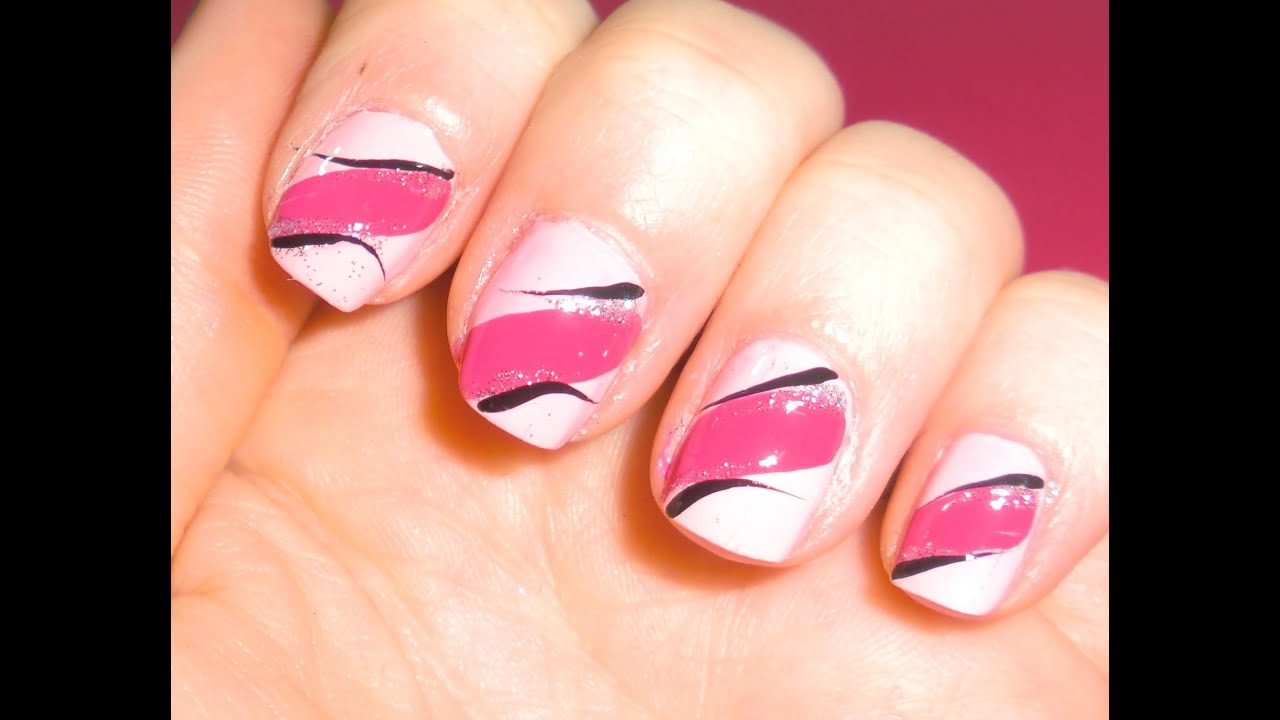 Easy pink nail art design 4 short nailsbeginners youtube prinsesfo Choice Image