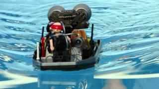 playmobil bateau chasseurs de trésor avec moteur dans l'eau