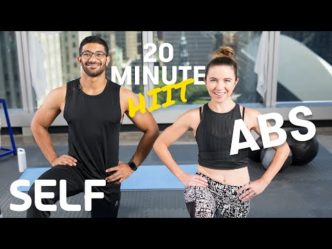 20 Minute HIIT Abs Focused Bodyweight Workout - No Equipment at Home With Warm-Up & Cool-Down | SELF