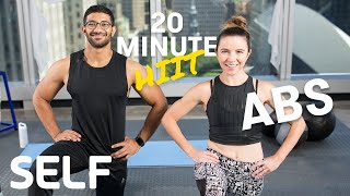 20 Minute HIIT Aḃs Focused Bodyweight Workout - No Equipment at Home With Warm-Up & Cool-Down | SELF